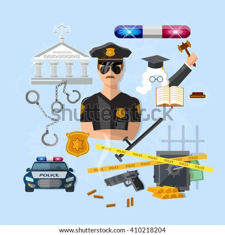 Policeman police officer law and order justice system criminal judge vector illustration - stock vector