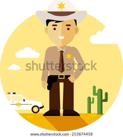 Policeman sheriff on desert background with police car in flat style - stock vector