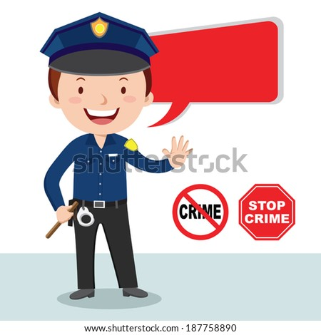Policeman, stop crime. Vector illustration of a cheerful policeman with stop crime sign. - stock vector
