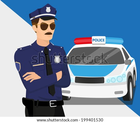 Policeman wearing sunglasses and police car.  - stock vector