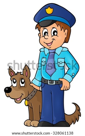 Policeman with guard dog image 1 - eps10 vector illustration. - stock vector