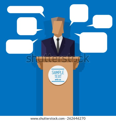 policies behind the podium with speech bubbles - stock vector