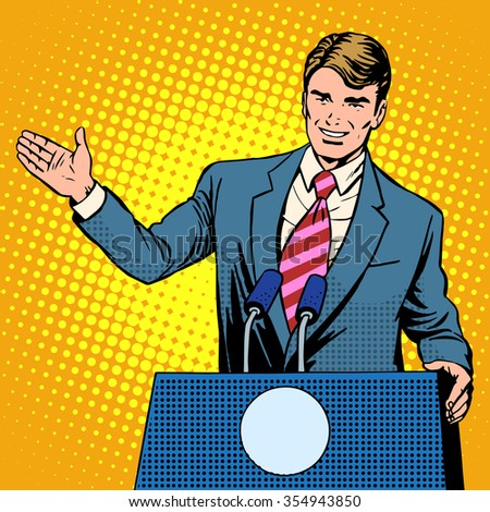 Policy candidate in the elections pop art retro style. The man at the podium speaks. Election promises - stock vector