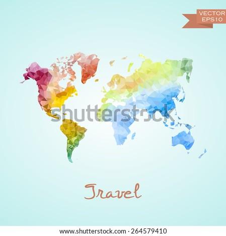Poligonal world map isolated on background. Vector version. - stock vector