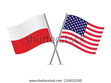 Polish and American flags. Vector illustration. - stock vector