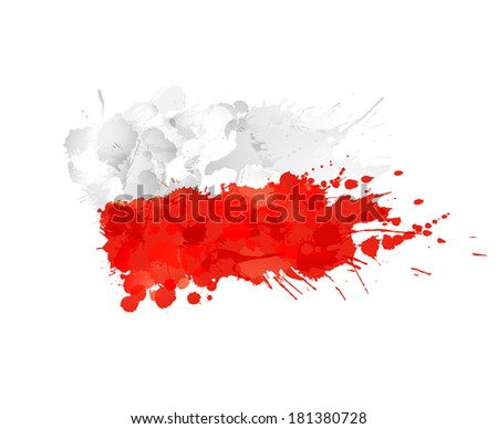 Polish flag made of colorful splashes - stock vector