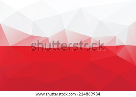 Polish flag - triangular polygonal pattern - stock vector