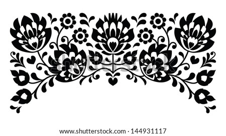 Polish floral folk embroidery black and white pattern
