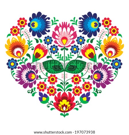 Polish olk art art heart embroidery with flowers - wzory lowickie - stock vector