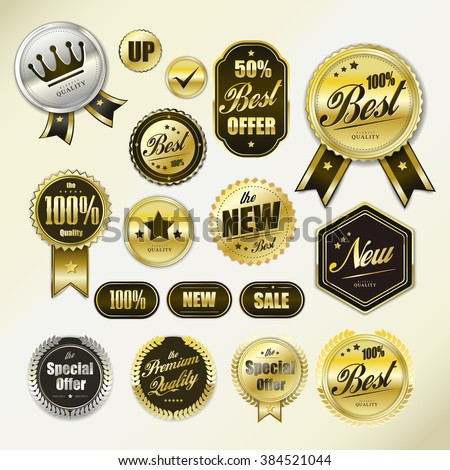 polished golden labels collection set for retail usage - stock vector