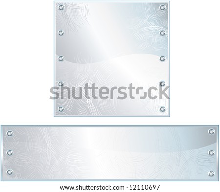 Polished metal plates, plaques, vector - FOR SIMILAR IMAGES PLEASE SEE AT MY GALLERY - stock vector
