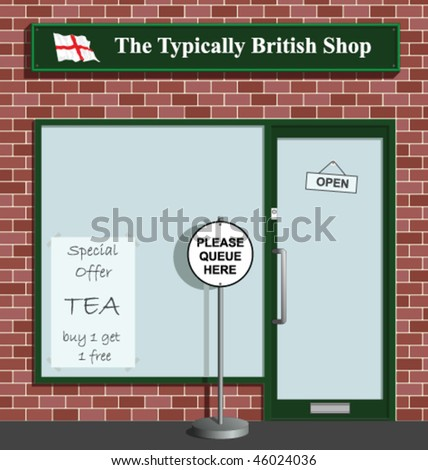 Polite queue sign at the Typically British Shop - stock vector