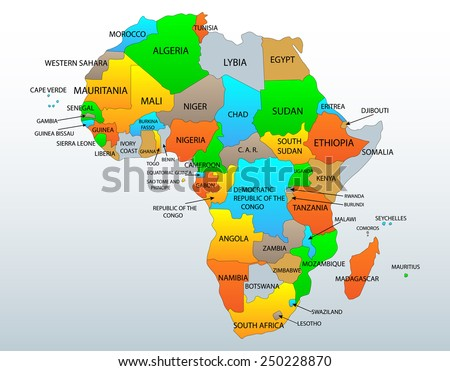 Political and location map of African continent countries - stock vector