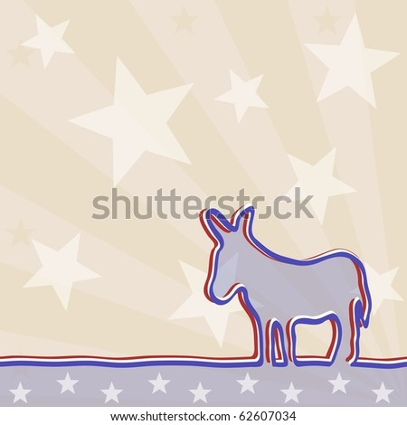 Political background with a donkey.  Includes transparencies (eps10); jpg version also available - stock vector