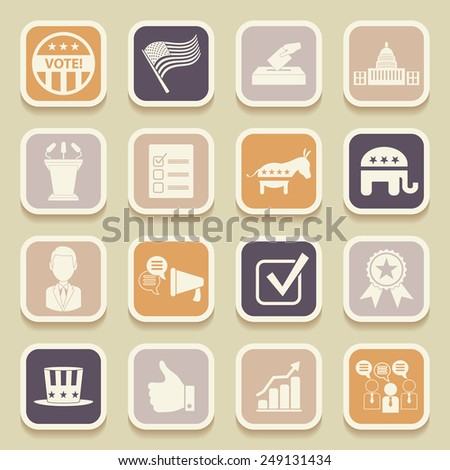 Political election campaign universal icons for web and mobile applications. Vector illustration - stock vector