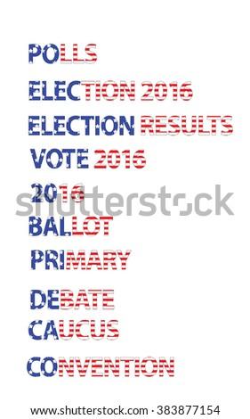 Political Election Headline & News Words - stock vector