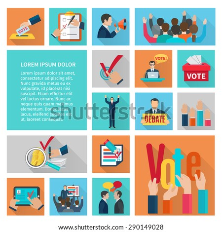 Political elections and voting flat decorative icons set isolated vector illustration - stock vector