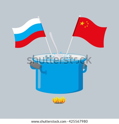 Political kitchen. Russia and China community. Cook soup in one pot.   - stock vector