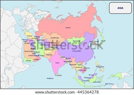 Political Map Asia Names Stock Vector (Royalty Free) 445364278 ...