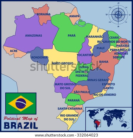 Political map brazil stock photo photo vector illustration political map of brazil gumiabroncs Image collections