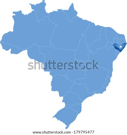 Political map of Brazil with all states where Alagoas is pulled out