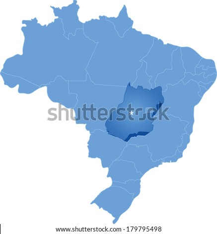 Political map of Brazil with all states where Goias is pulled out - stock vector