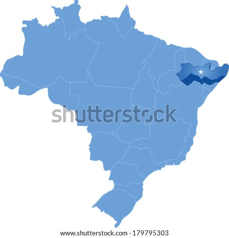 Political map of Brazil with all states where Pernambuco is pulled out