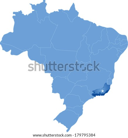Political map of Brazil with all states where Rio de Janeiro is pulled out