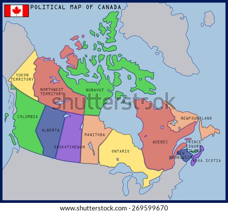 Political Map Canada Stock Vector Shutterstock - Map of canada political