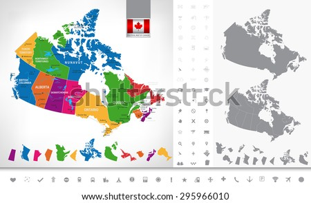 Political map of Canada. Regions and provinces, navigation icons. Highly detailed vector illustration. - stock vector