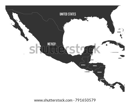 Political map central america mexico dark vector de stock791650579 political map of central america and mexico in dark grey simple flat vector illustration gumiabroncs Gallery