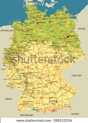 Political Map Germany Relief Cities Lakes Stock Vector - Germany map of rivers