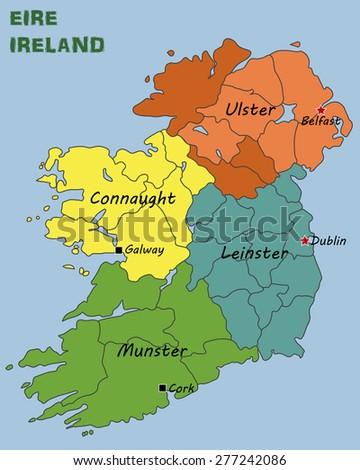 Political Map Ireland Stock Photo Photo Vector Illustration