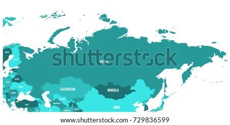 Political Map Russia Surrounding European Asian Stock Vector - Political map of russia