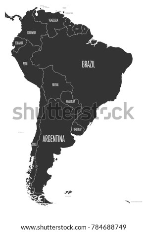 Political Map South America Simple Flat Stock Vector 784688749