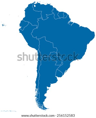 Political Map South America All Countries Stock Vector 256152583