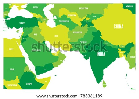 Political Map South Asia Middle East Stock Vector - South asia political map