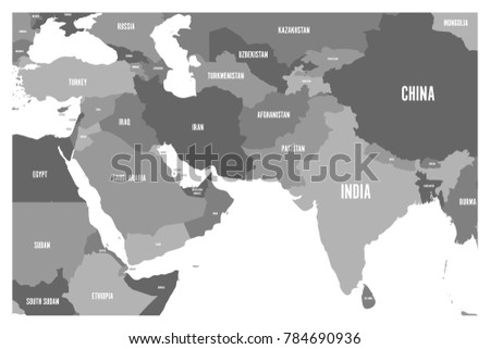 political map of south asia and middle east countries simple flat vector map in four