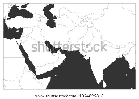 Political Map South Asia Middle East Stock Vector - Outline map of south asia