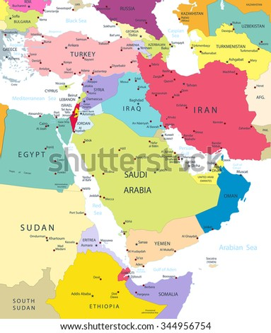 Political Map of the Middle East And Asia Isolated On White. - stock vector