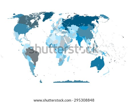 political map of the world blue - stock vector