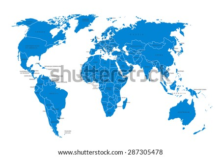 Political map of the world. Blue world map-countries. Vector illustration - stock vector