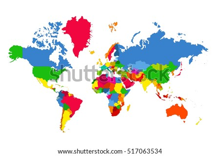 Political map of the world. Colorful map of the world. Vector illustration