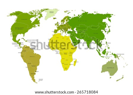Political map of the world. Colorful world map-countries. Vector illustration - stock vector