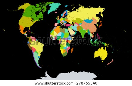Political map of the world. Each country placed on a separate layer. The name of layer consists of name of the country and capital. This map is based on a paper map of Cartography Company, Ukraine. - stock vector