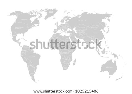 Political Map Of The World. Gray World Map Countries. Flat Design. Cute