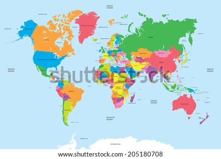 Political map of the world vector  - stock vector