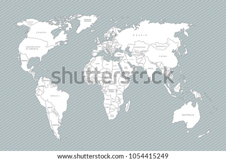 Political Map Of The World. White World Map Countries. Flat Design. Cute
