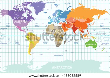 Political map world all continents separated stock vector political map of the world with all continents separated by color labeled countries and oceans gumiabroncs Image collections