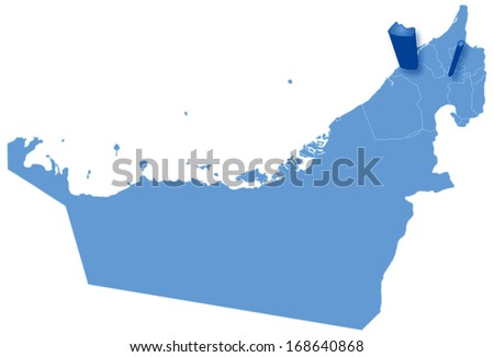 Political map of United Arab Emirates with all Emirates where Ajman is pulled out  - stock vector